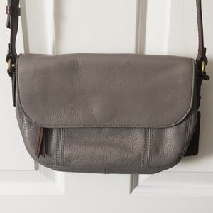 Grey leather Fossil Crossbody